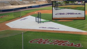 weighted batting practice zone infield turf protector
